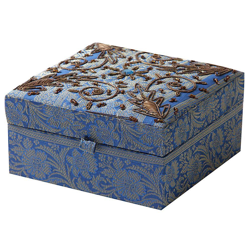 Sitara Handmade Fabric Jewelry Box with Gold Trim Boxes