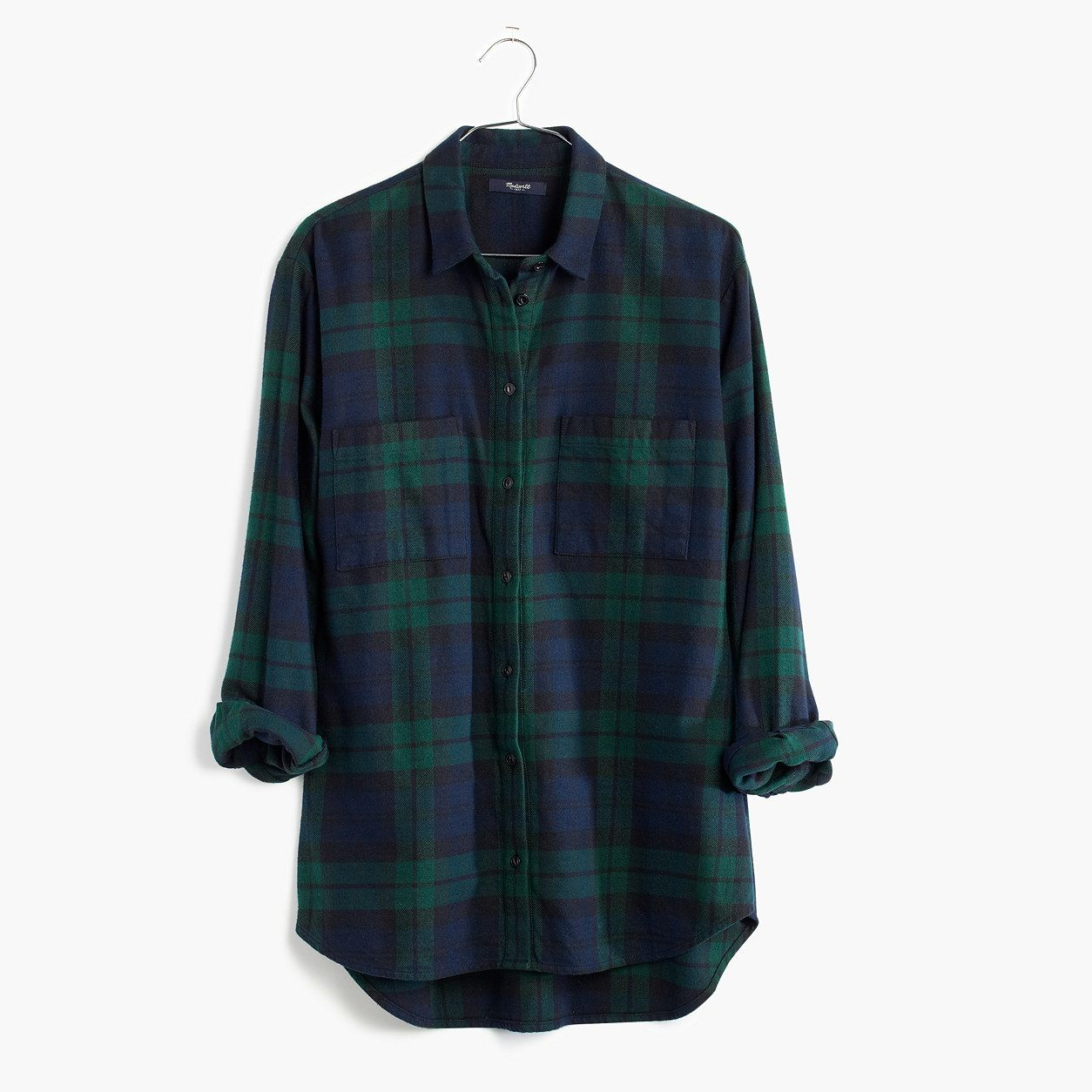 b355645ebcc Madewell Flannel Oversized Boyshirt In Dark Plaid
