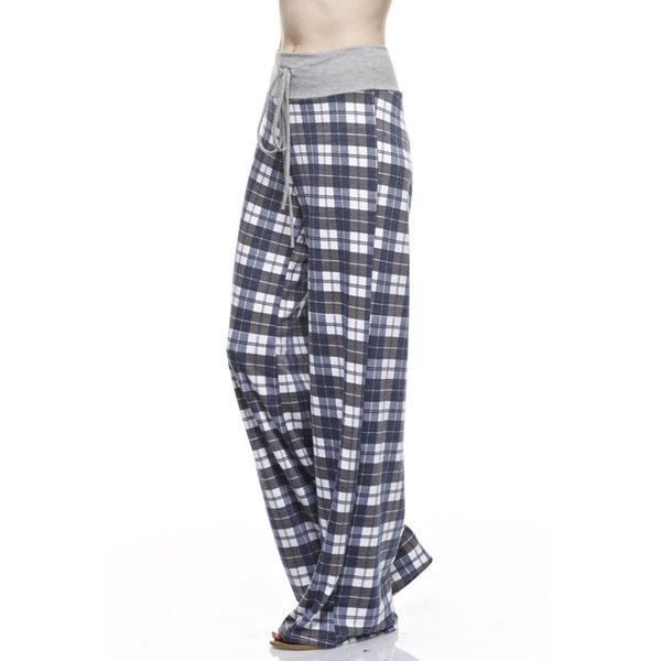 12PM Plaid Print Wide Lounge Pants (€25) ❤ liked on Polyvore featuring pants, tartan pants, tartan plaid pants, cotton pants, cotton trousers and wide-leg pants