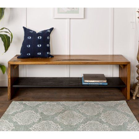 58 Inch Solid Reclaimed Wood Entry Bench Amber Multiple Colors