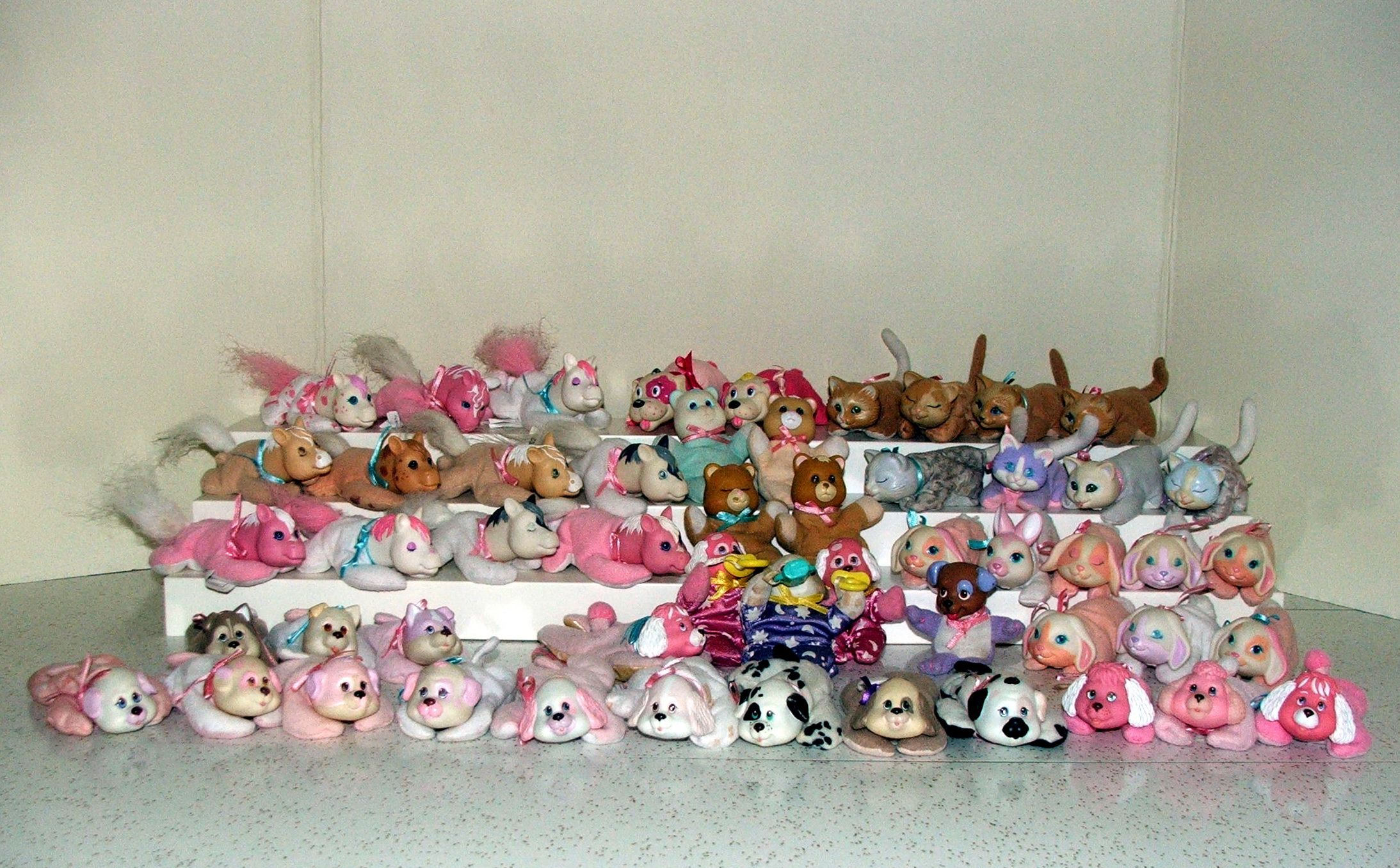 Hasbro Pet Surprise Babies Vintage Hasbro, Hasbro Pet Surprise, Puppy Surprise, Pony Surprise, Kitty Surprise, Bunny Surprise, Baby Cub Surprise, Sleep N Surprise, Group of Babies - Beanbag, Plush, Vinyl Front View, shows face details well, there are two other views on this board