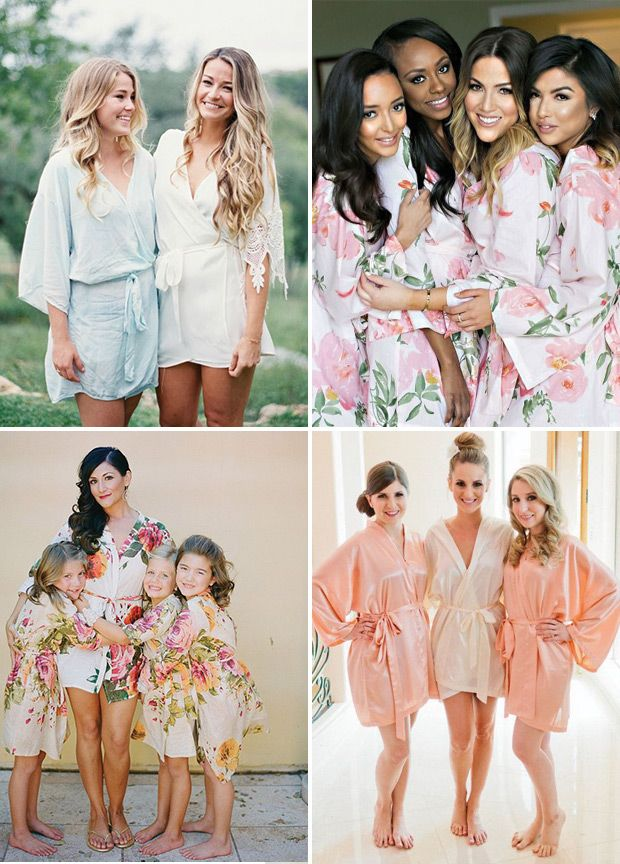 White Floral Posy Robes for bridesmaids | Getting Ready Bridal ...