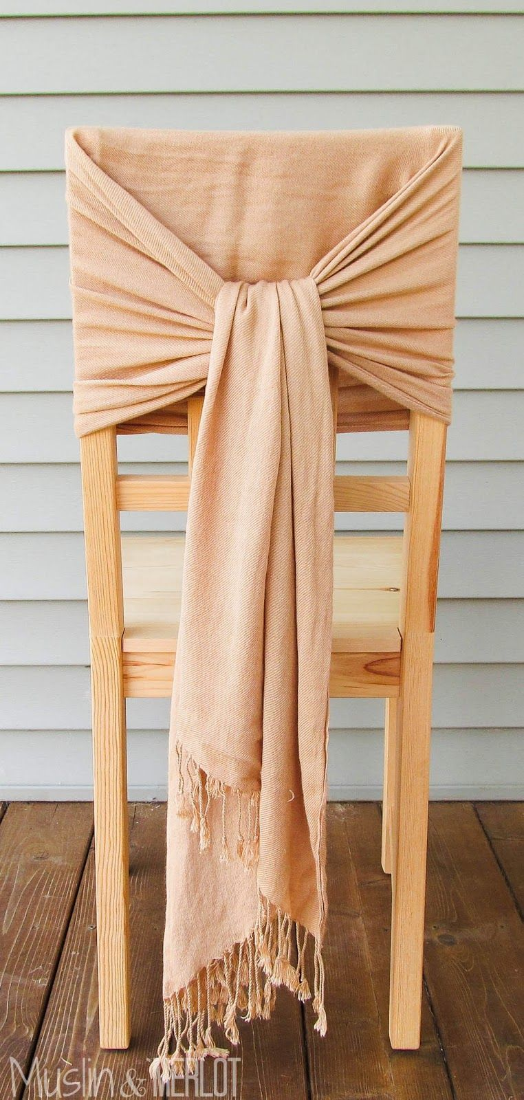 How to Decorate Chairs with Scarves!  Chair decorations, Diy
