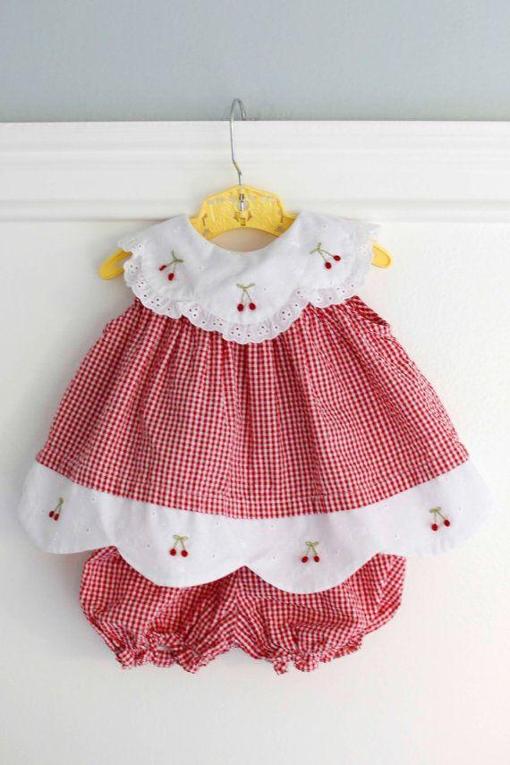d896185ae 3-6 meses  guinga roja bebé traje vestido y conjunto por Petitpoesy