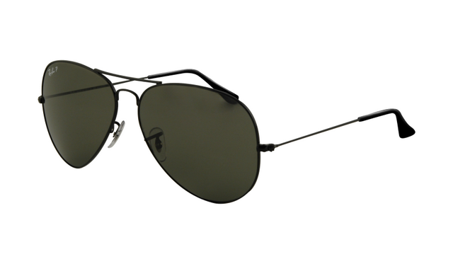 Ray Ban RB3025 Aviator Sunglasses Black Frame Crystal Green Lens