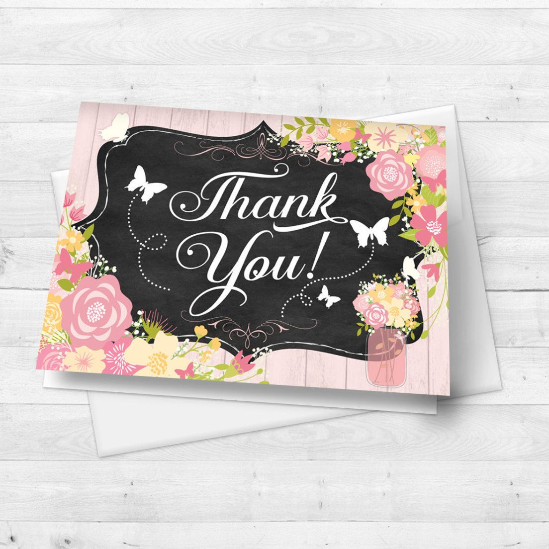 Instant download thank you card printable diy pink