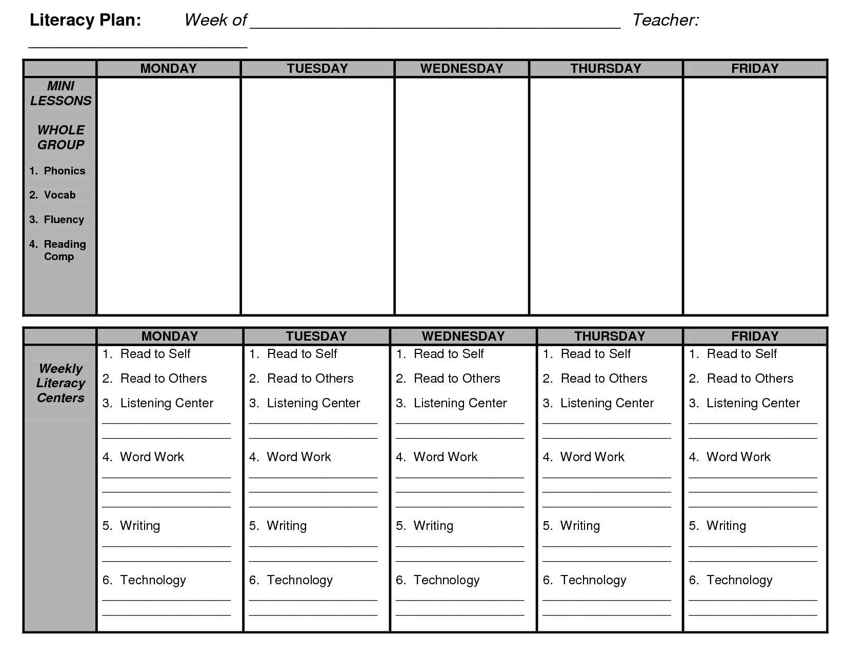 Shared Reading Lesson Plan Template