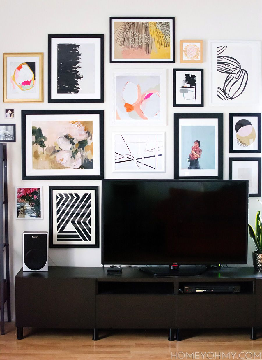 14 Ideas And Solutions For A Gallery Wall Behind The Tv D Co # Astuce Meuble Tv