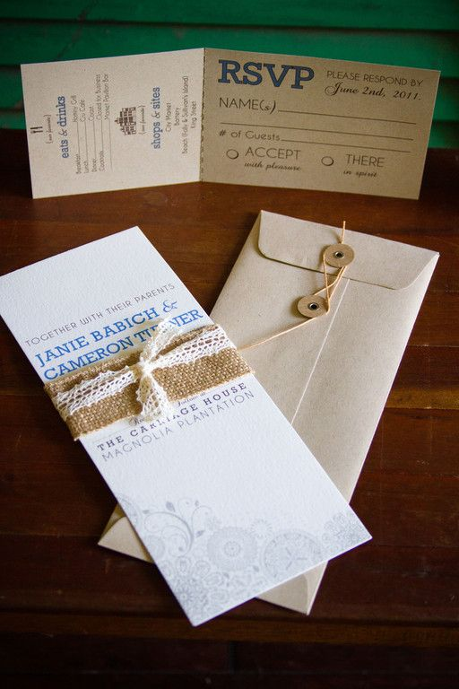 Burlap around invites, really kinda like these