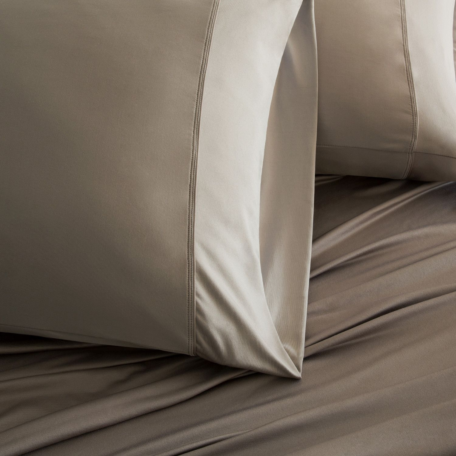 Luxury Copper Collection Taupe Luxury Flat Sheets Bed Pillows