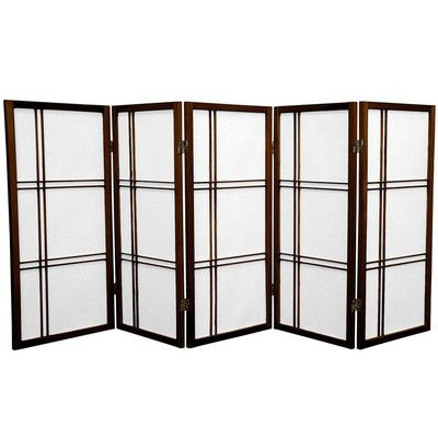 "Bungalow Rose 35.75"" Leiva Screen 5 Panel Room Divider Finish: Walnut"