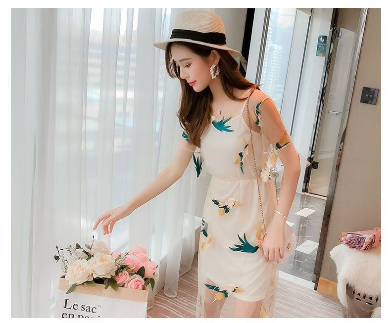 45d98fcbe0 Korean Summer Mesh Dress Girls See Through Tulle Birds Floral Embroidered  Dress