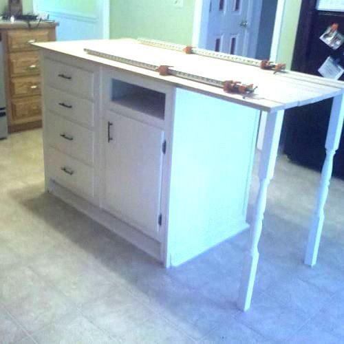Kitchen Islands Made From Old Furniture: Old Base Cabinets Repurposed To Kitchen Island