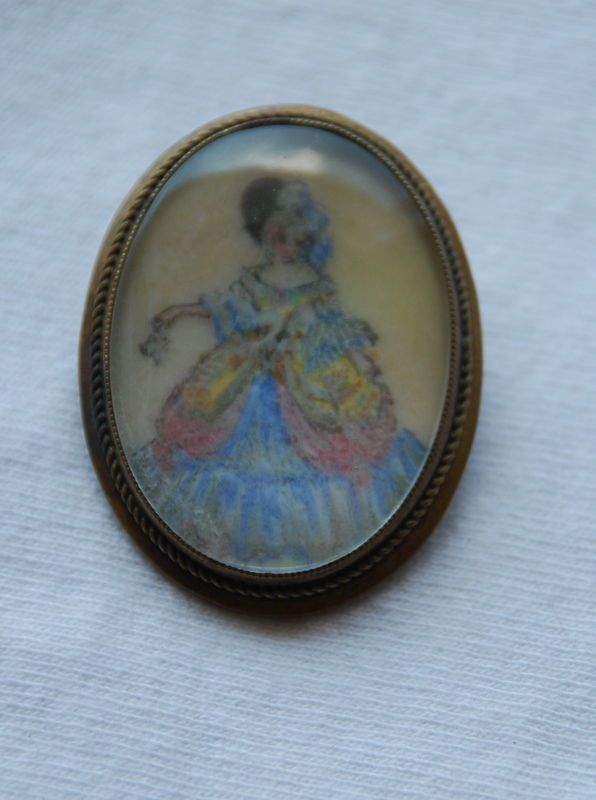 Thomas L Mott TLM Handpainted Brooch Pin Lady inBlue Dress Hat Made in England #TLM