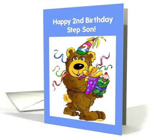Step Son 2nd Birthday With Teddy Bear And Presents Card