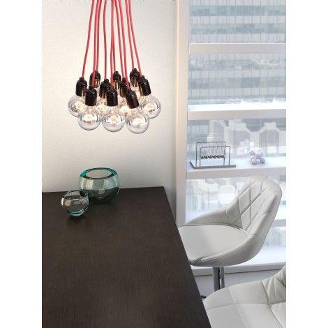 Suspendu de style moderne brut sur fil tressé de couleur rouge avec