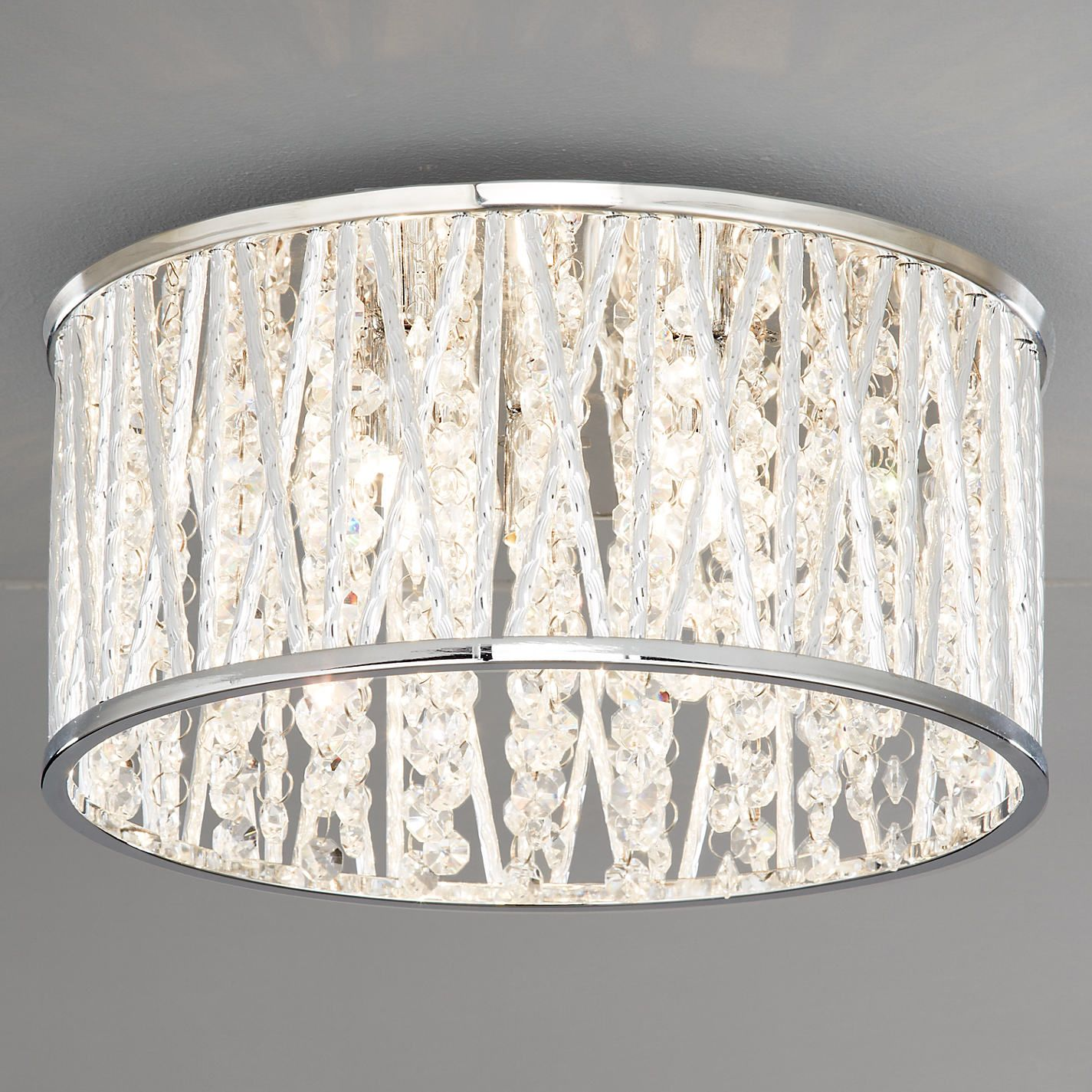 John Lewis Emilia Crystal Drum Flush Ceiling Light From Our Lighting Range At