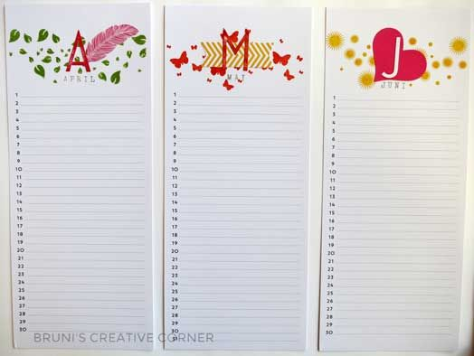 Perpetual Calendar April to June - Stampin\u0027 Up DIY Paperwork Ideas - Perpetual Calendar Template
