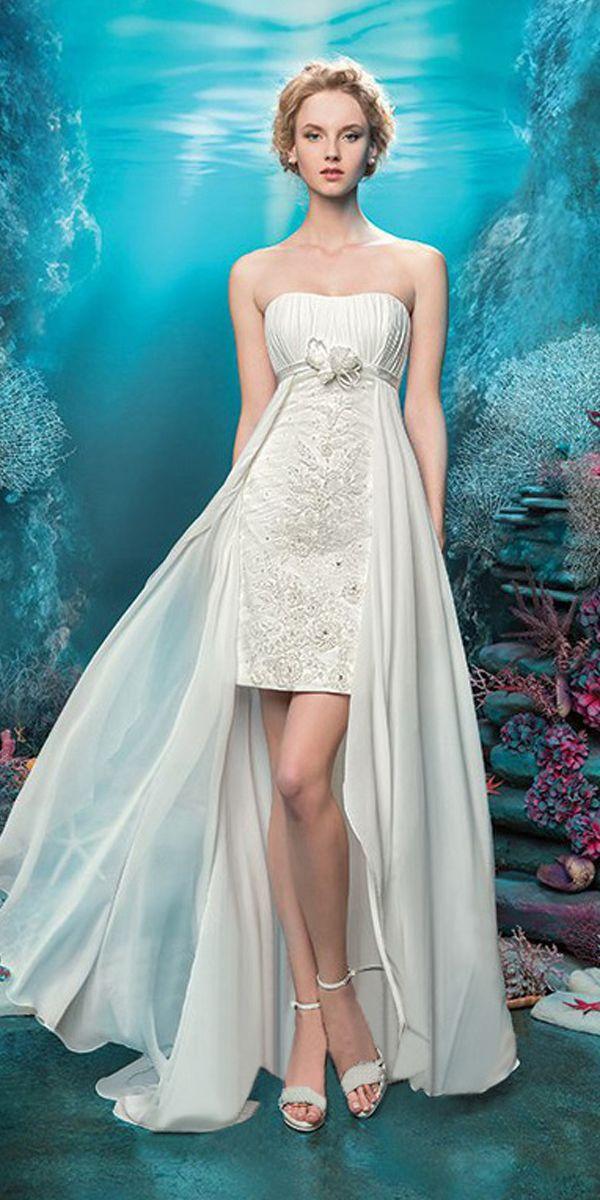 Alluring Chiffon Strapless Neckline 2 in 1 Wedding Dresses with ...