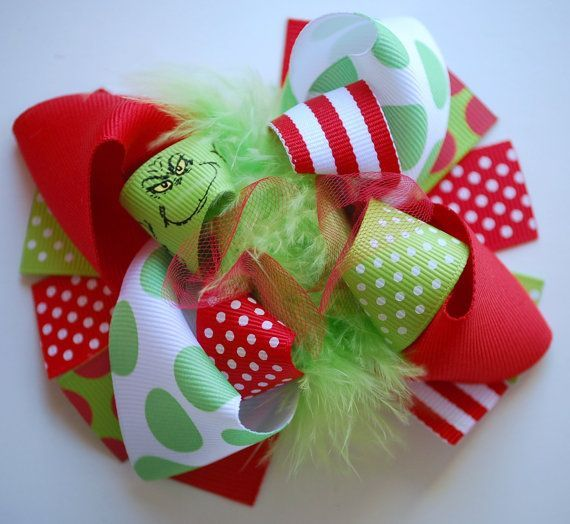 The Grinch Homemade Hair Bow//clip