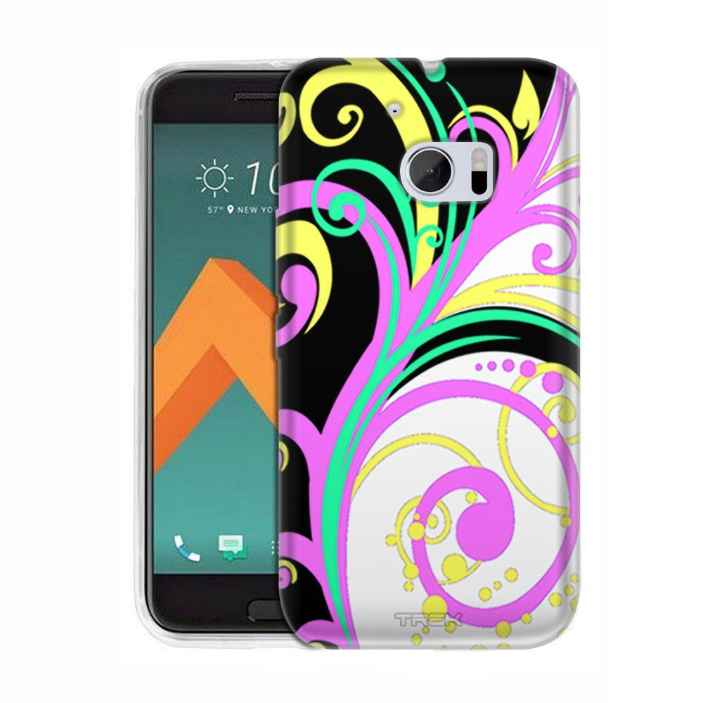 HTC 10 Colorful Branches on White and Black Slim Case