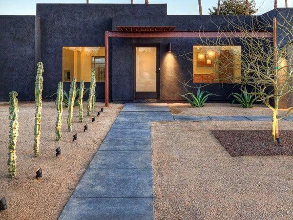garten designideen moderne vorgartengestaltung kakteen beleuchtung beton pfad - Vorgartengestaltung Modern