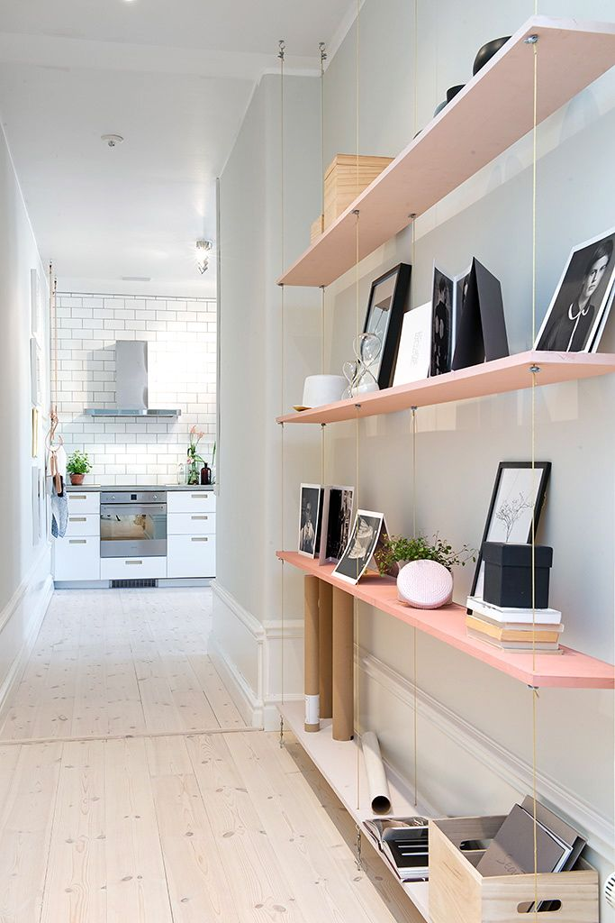 Cozy Swedish Apartment// Suspended bookshelf//