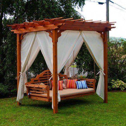 Patios · Au0026L Furniture Co. Cedar Pergola Arbor Swing Bed Set AL Fu