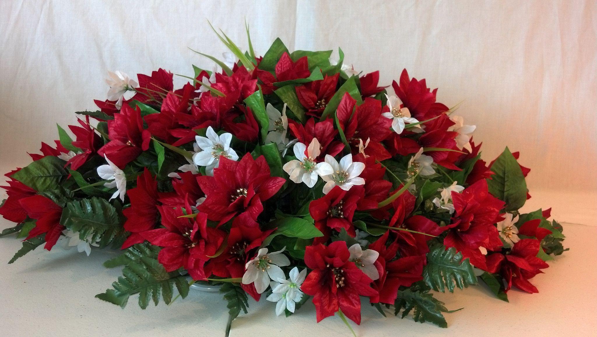 Premium Poinsettia Headstone Spray For Christmas Christmas Flower Arrangements Flower Arrangements Diy Artificial Flower Arrangements