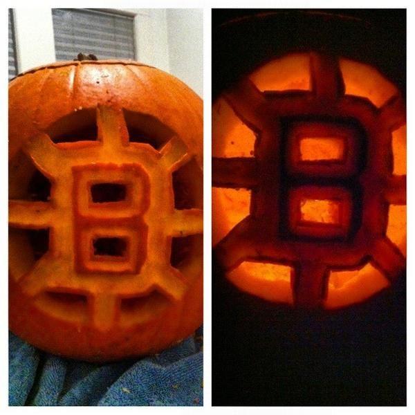 Nice Bruins Pumpkin From Plycrckthesky HockeyHalloween