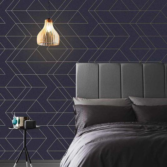 Balance Navy Gold Wallpaper Blue Wallpaper Graham Brown Gold Wallpaper Master Bedroom Wallpaper Blue Wallpapers Blue wallpaper for bedroom