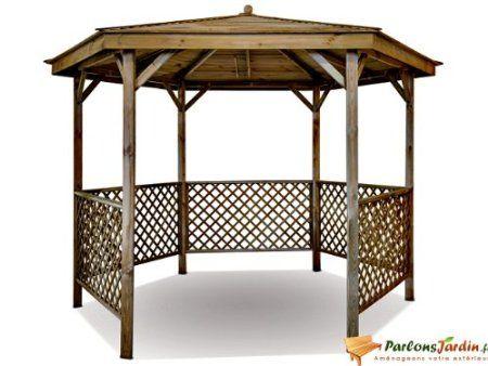 Kiosque de jardin en bois hexagonal Lora | Kiosque jardin ...