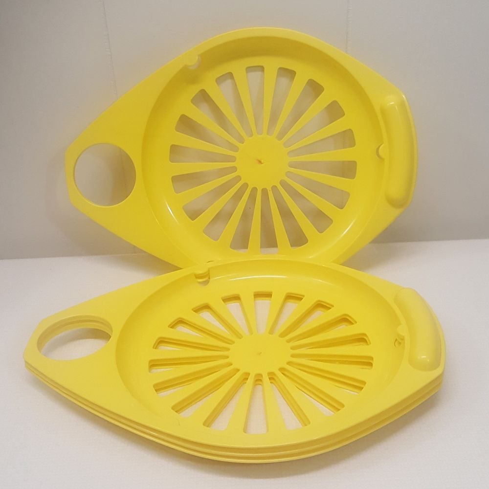 Plastic Paper Plate Holders Yellow Cup Holder Round Set of 4 Picnic ...