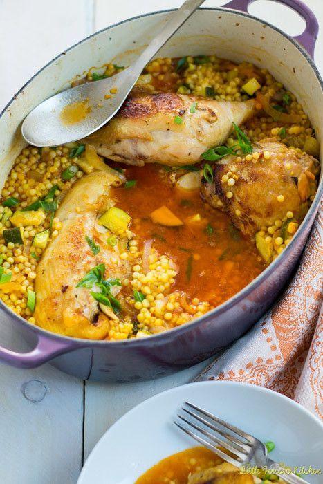 One Pot Garlic Chicken with Saffron and Israeli Couscous -  One Pot Garlic Chicken with Saffron and