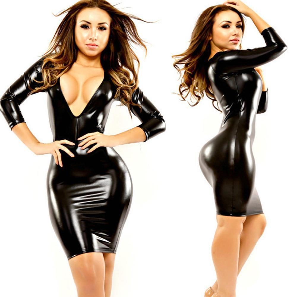 3513421141 Sexy Women Faux Leather PVC Shiny Dress Deep V Neck Cheongsam Dress Pack  Hip MINI Pencil Dress Sexy Night Club Wear Plus Size 32