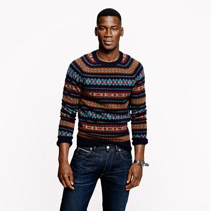 J.Crew+-+Alpine+Fair+Isle+sweater+in+deep+navy | Look book ...