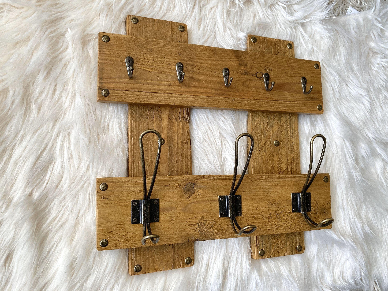 Handmade Hook Rack Key Holder Rustic Farmhouse Wall Mounted Decor Art Farmhouse Wall Decor Handmade Wooden