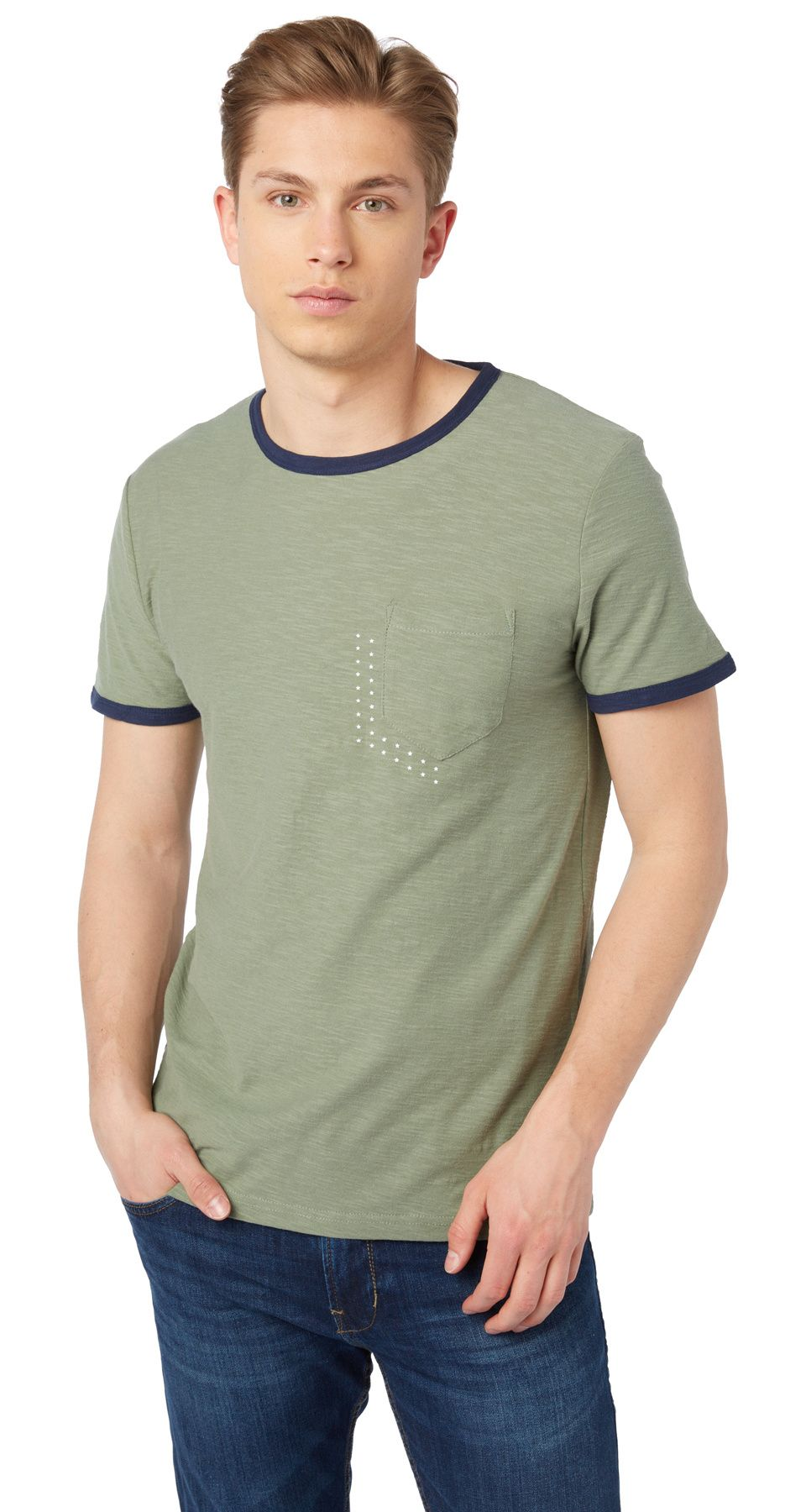 T Shirt With Contrasting Trims For Men Plain Coloured Short Sleeves With Crew Neck Tom Tailor