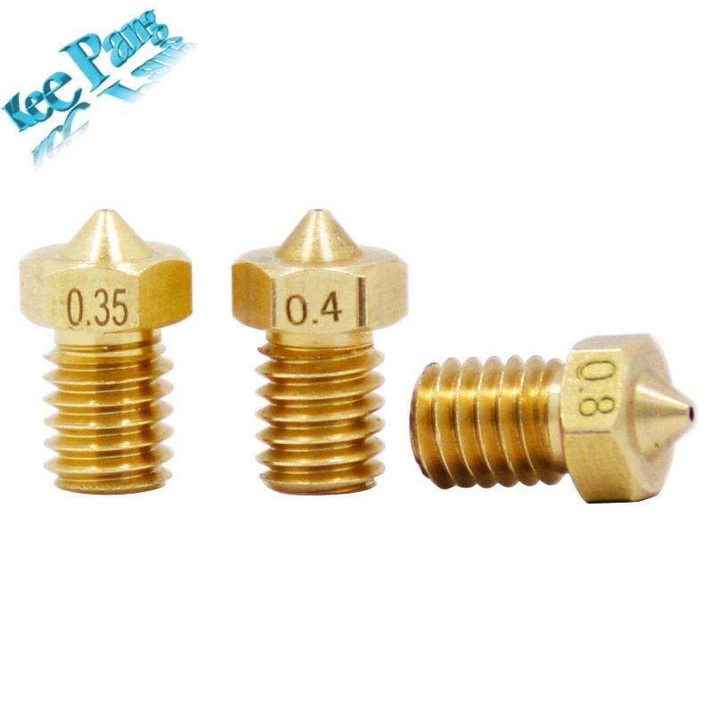 0.8mm V6 Brass Nozzle For 1.75mm Filament Copper Extruder 3D Printer 10pcs