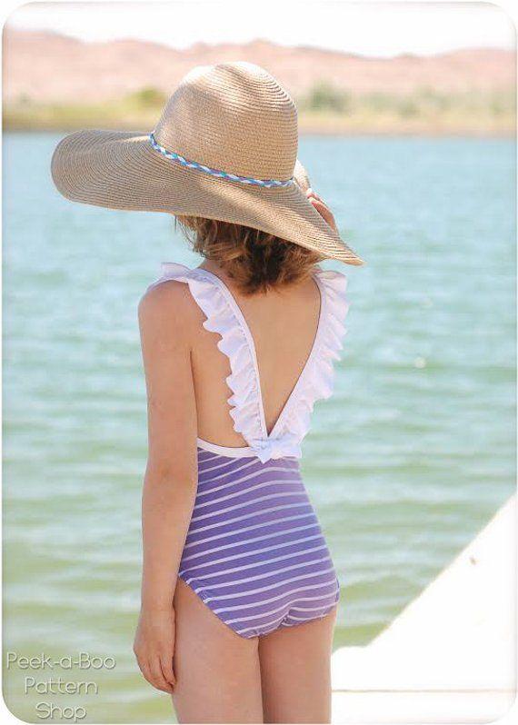 4f2f625f18291 Malibu Swimsuit: Girls Swimsuit PDF Pattern, Baby & Toddler Swimsuit Pattern