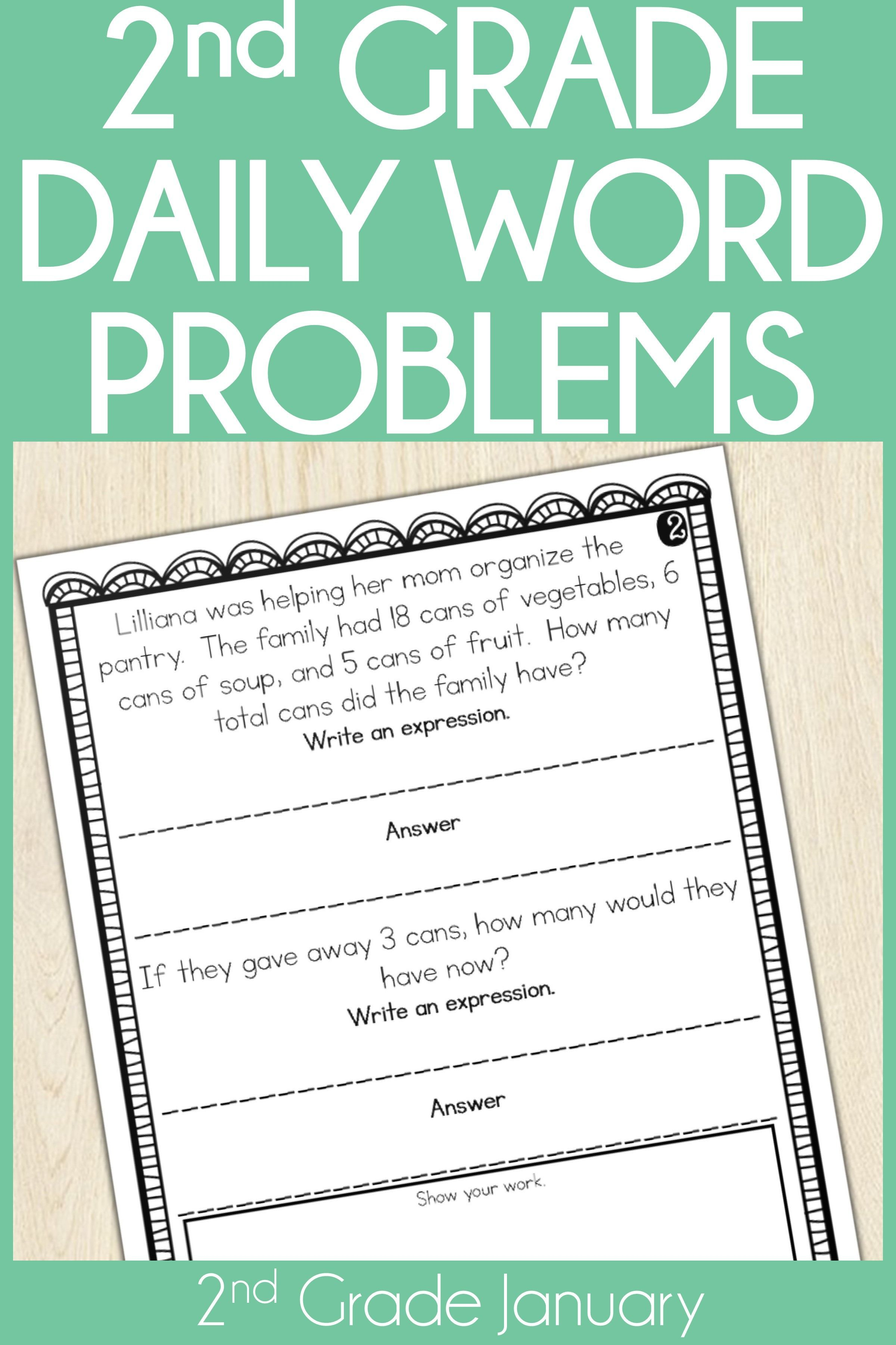 2nd Grade Word Problem Of The Day Story Problems January
