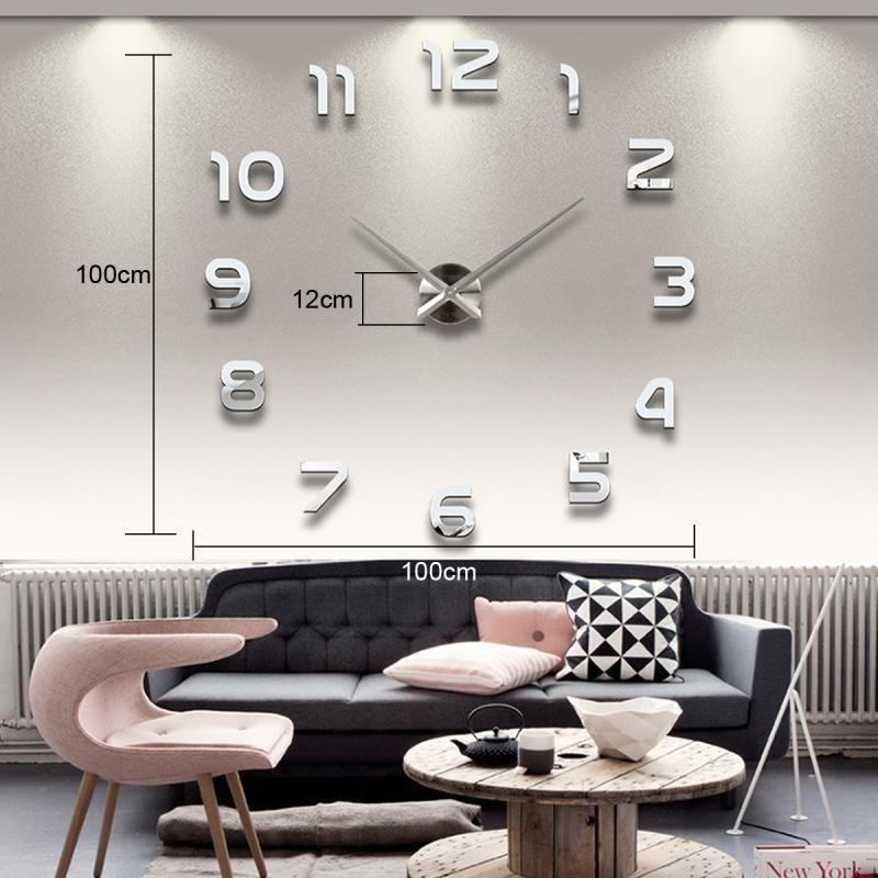 3D Wanduhr Modern Wohnzimmer Spiegel Wanduhr XXL Silber Wandtattoo NEU