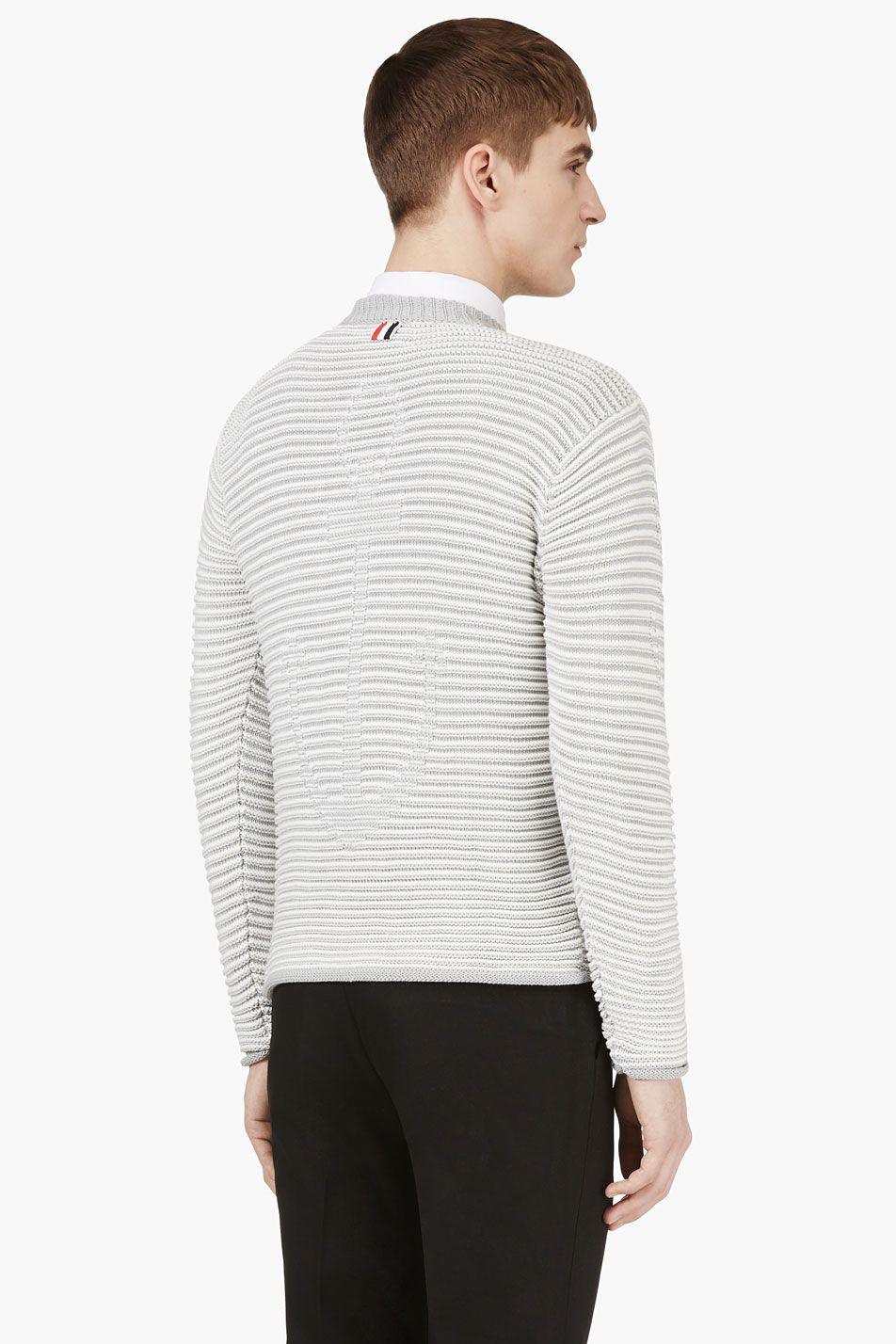 THOM BROWNE Grey & White Anchor Mariner's Sweater
