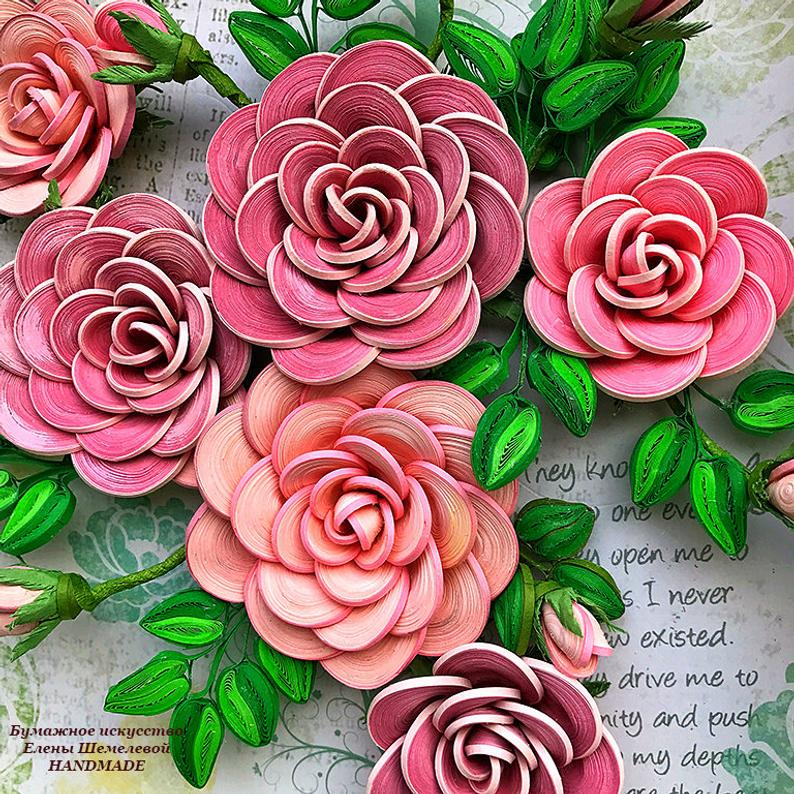Quilling Roses Paper Art Flowers 3d Picture Of Flowers Etsy Quilled Paper Art Paper Flowers Rose Art