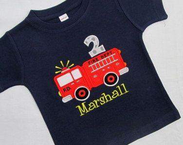 FIRETRUCK BIRTHDAY SHIRT Personalized Shirt Truck Fire by cuteasme