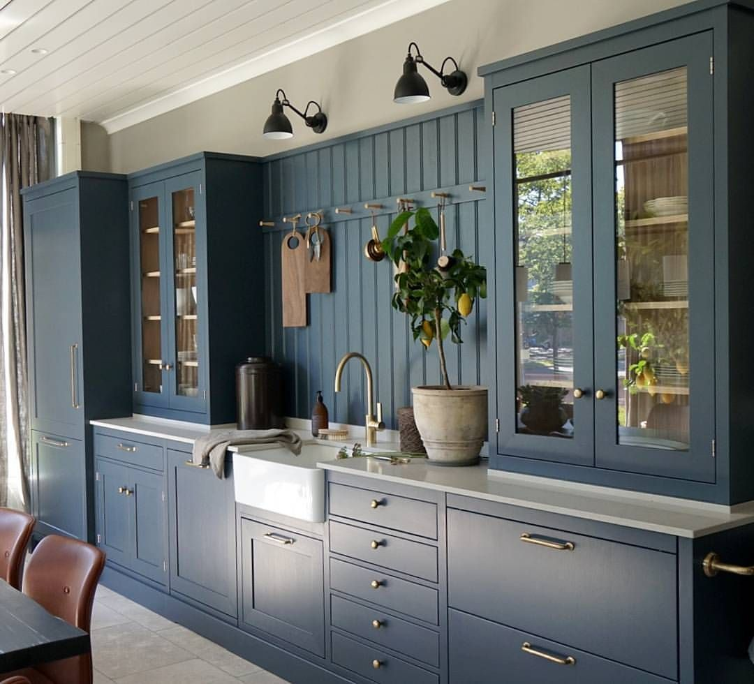 Dalby In New Color Ocean Blue We Love The Mix Blue Brass And Oak Details Kvanum Kvan Beautiful Kitchen Cabinets Classic Kitchen Cabinets Kitchen Cabinetry