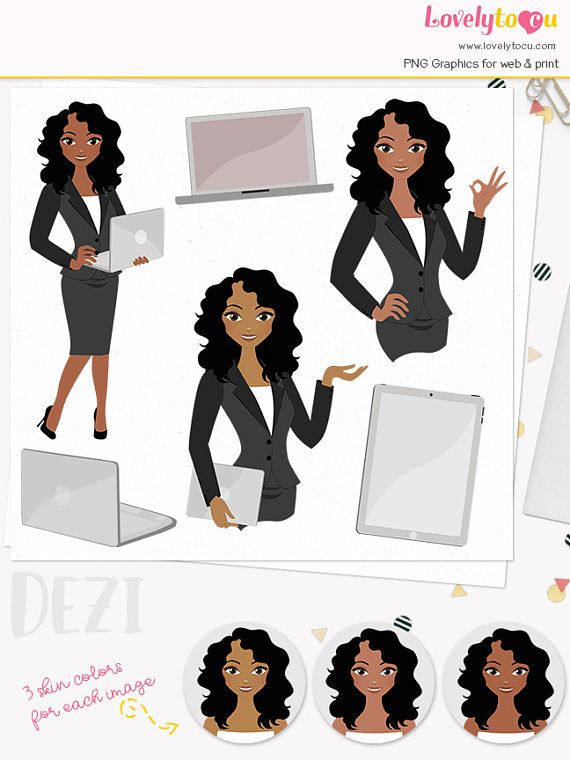 Woman Business Character Clipart Girl Boss Clipart Set With