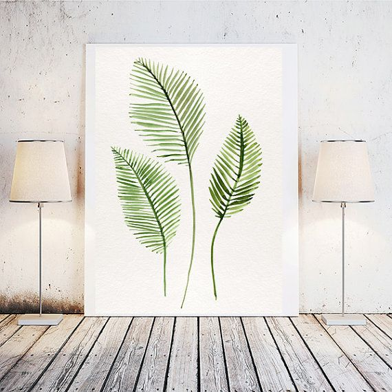 Tropical leaf tropical leaf print palm leaves by LoveWonderPrints $5