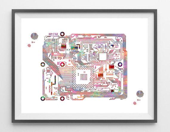 circuit board watercolor print computer science art electronic