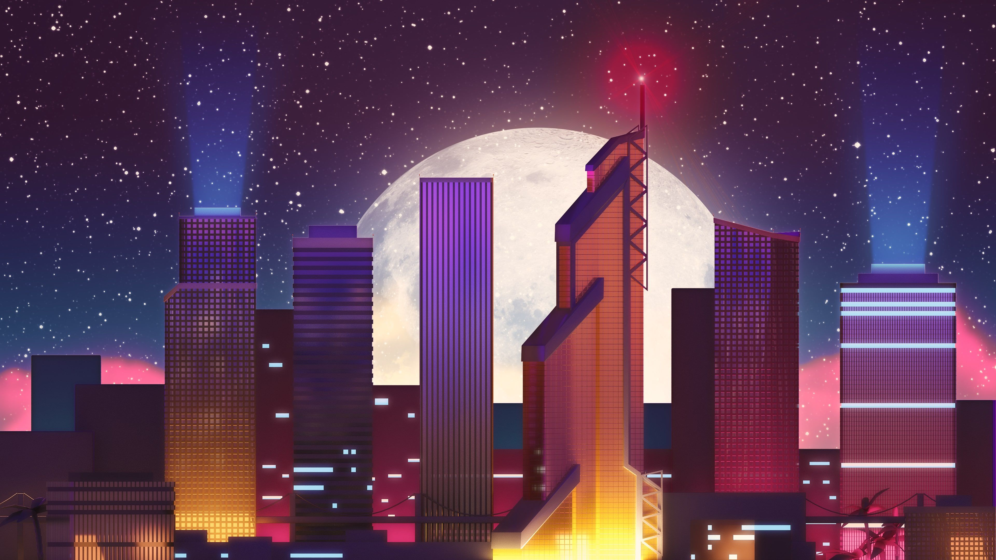 Moscow Skyscrapers Retro Neon Moon Moscow Skyscrapers Retro Neon Moon is an HD desktop wallpaper posted in our free image collection of abstract wallpapers.
